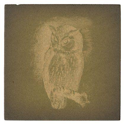 Vintage Owl Illustration Antique Bird Art Green Stone Coaster Zazzle Com Owl Illustration Bird Art Vintage Owl