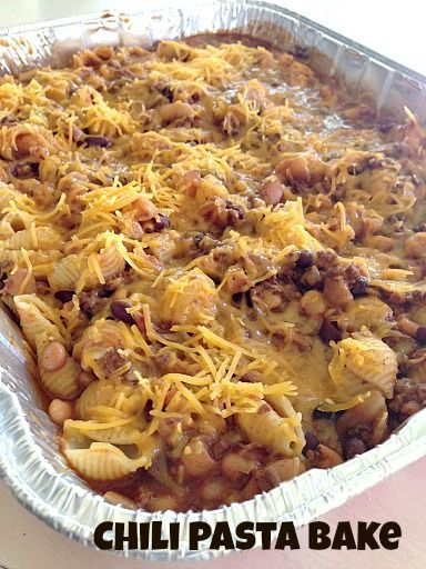 Chili Pasta Bake  ~ an easy and delicious recipe for large gatherings or when providing meals to others   5DollarDinners.com