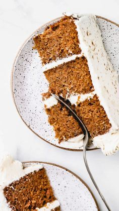 This is truly the BEST EVER carrot cake recipe. It's incredibly moist perfectly spiced and smothered in cream cheese frosting. It's the only carrot cake recipe you'll ever need! #carrotcake #carrotcakerecipe #cakerecipes #butternutbakery