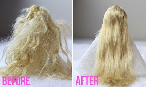 Unravel the doll hair in no time! - Sandra da Cunha - - Démêler les cheveux de poupée en un rien de temps! Unravel the doll hair in no time! - Tips and tricks - Tips and tricks to improve your everyday life - Tips and tricks - Think about it! Doll Hair Repair, Fix Doll Hair, Baby Doll Hair, Barbie Hair Fix, Barbie Doll, Tangled Doll, Tangled Hair, Doll Hair Detangler, Doll Hair Conditioner