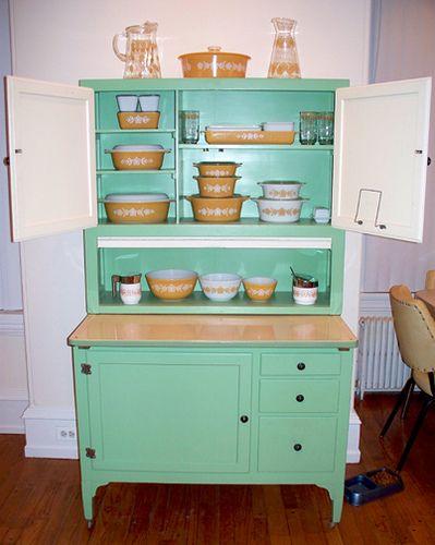 Butterfly Gold Pyrex & Hoosier cabinet!