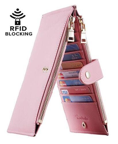 Womens Leather Walllet RFID Blocking Bifold Card Pocket Case Zipper Xmas Gift