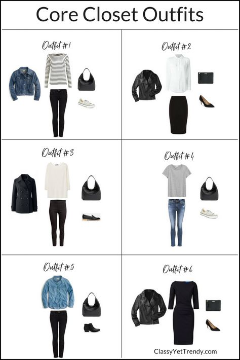 How To Create Outfits With A Core Closet - see 6 outfit ideas that come from this wardrobe, using clothes and shoes such as a tee, striped top, leather jacket, white shirt, denim jacket, black jeans, ankle pants and pencil skirt.