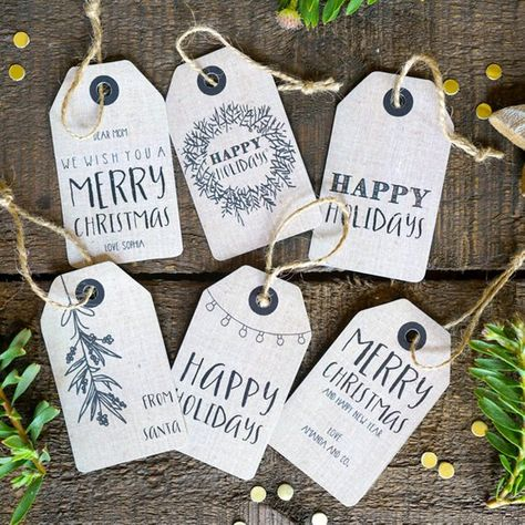 Christmas Kraft Gift Tags - Christmas Labels - Instant Downloadable and Editable File - Personalize