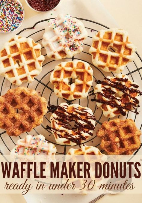Easy Waffle Maker Donuts are made using simple ingredients and a waffle maker. Easy, delicious and just the right amount of sweetness you will love these waffle maker donuts. #donut #donutrecipes #wafflerecipes #waffleiron #cinnamonsugar #chocolate #waffles #wafflebar #breakfastrecipes #sweetrecipes #easyrecipe