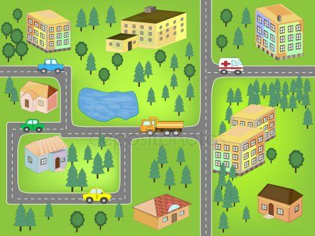 Cartoon Map Seamless Pattern Roads Cars And Houses Cartoon Map Seamless Patterns Free Cartoons