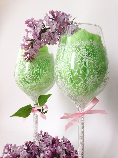 Hand painted wine glasses by www alena glass com on pinterest pain