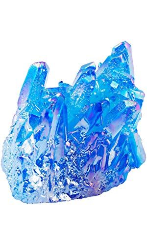 Healing Crystal Natural Titanium Coated Lake Blue Rock Quartz Cluster  Specimen