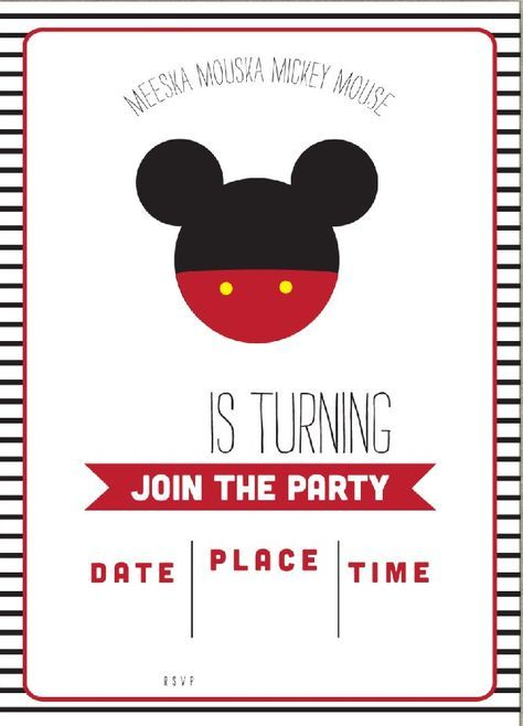 Get FREE Template Free Simple Mickey Mouse Head Invitation