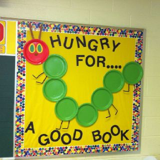 great bulletin board for my Eric Carle author study.  Would add a writing piece where kids would paint the cover of thier favorite book and write the title and why they like it.