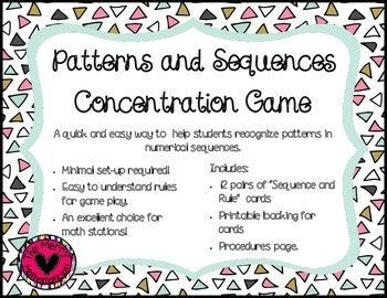 Numerical Patterns And Sequences Concentration Memory Game