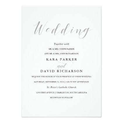 Elegant Typography Gray Wedding Card Weddinginvitations We