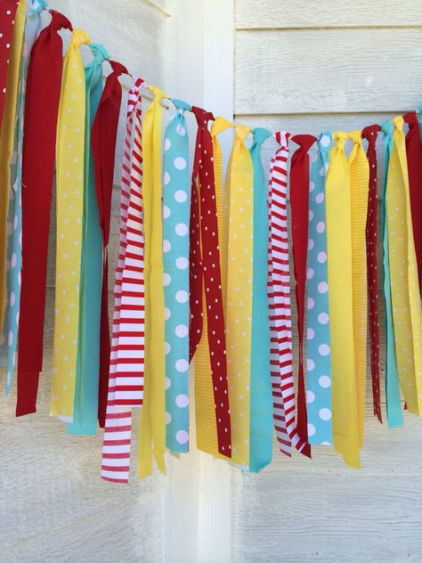Items similar to Vintage Circus - Rag Tie Garland - Snow White Birthday - Curious George Party - Cat in the Hat - Circus Bithday/Wedding Decor on Etsy Circus Carnival Party, Circus Theme Party, Carnival Birthday Parties, Carnival Themes, First Birthday Parties, Birthday Party Themes, Circus Theme Classroom, Vintage Circus Party, Circus Wedding