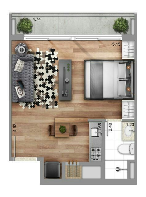 Simple And Modern Studio Apartment Floor Plans Apartment Layout Apartment Design