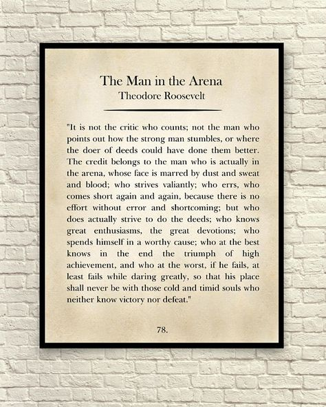 Wall Art Quote Art Print Theodore Roosevelt Quote