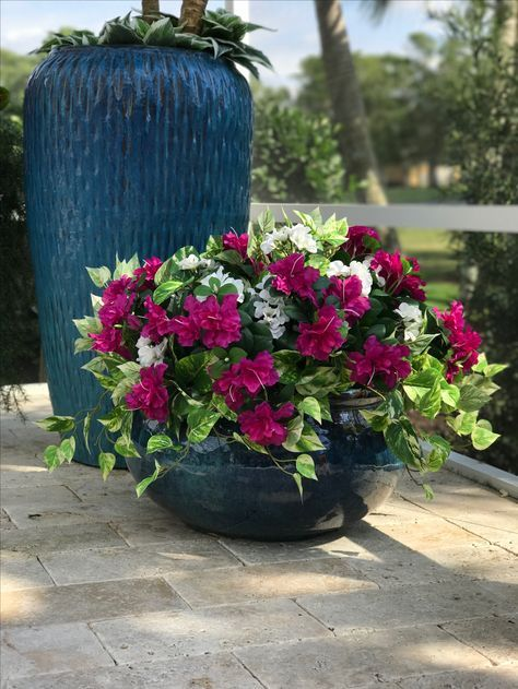 Do These Look Fake The Azalea Geranium And Variagated Pothos Are All Outdoor Silk Plants Hanging Plants Outdoor Fake Plants Decor Artificial Flowers Outdoors