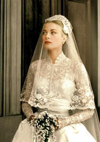 robe de mariée en dentelle de Grace Kelly