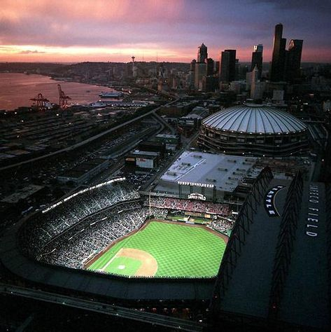 Safeco field at sunset as well as a nice view of Seattle Go Seattle