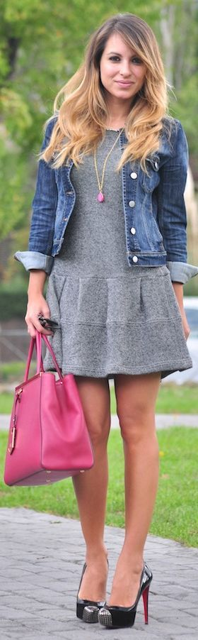 Pink & Grey Outfit: Denim jacket, dress, big bag.