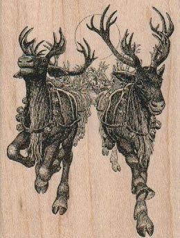 Primitive Christmas North Pole Reindeer Farm Rudolph Laser Print 8x10