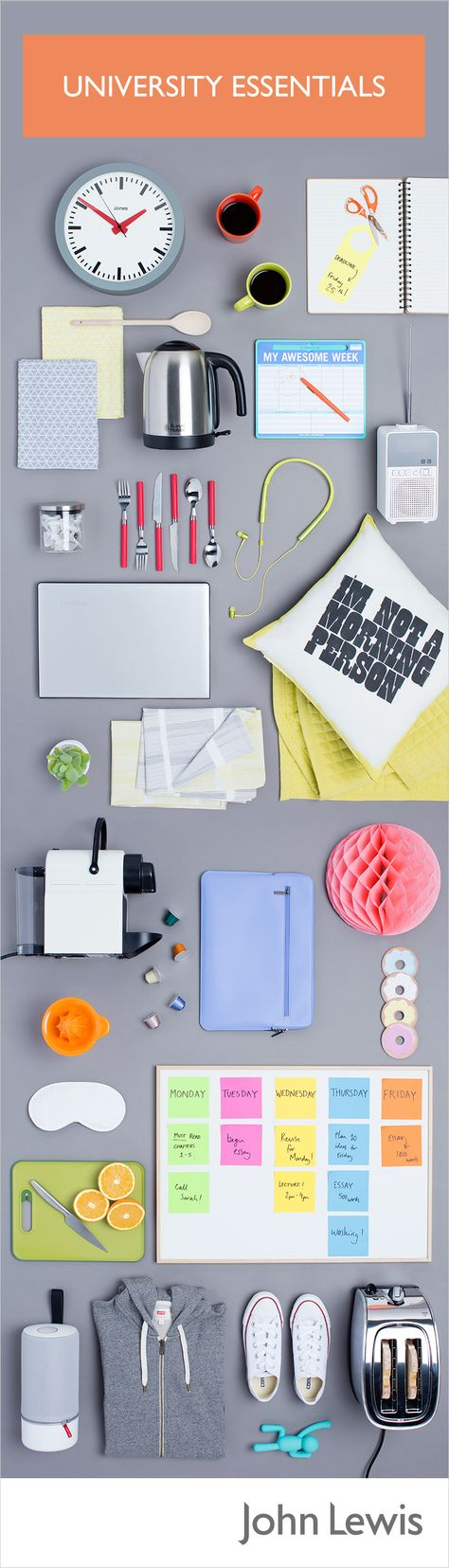 Prepare for student life with our University Essentials – we've collected everything you'll need for work, rest and play. From printers and pans to laptops and lamps, we have everything you need to get a head start at University, as well as those little luxuries that make a room feel like home.