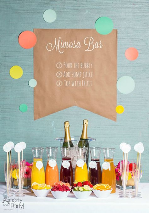 """Nothing says """"bridal shower"""" like delicious sparkling refreshments. Start with Champagne on ice, then add carafes of juice and finish with bowls of fresh fruit. Get the tutorial at Smarty Had A Party."""