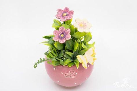Kerámia virág: Rózsaszín Kisgömb Fokföldi Ibolyával