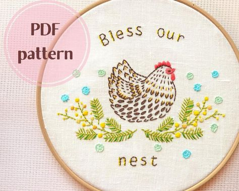 Read the full title Easter Hand embroidery patterns • PDF • Spring embroidery design • Embroidery Chicken • Bless our nest • Family simbol • NaiveNeedle
