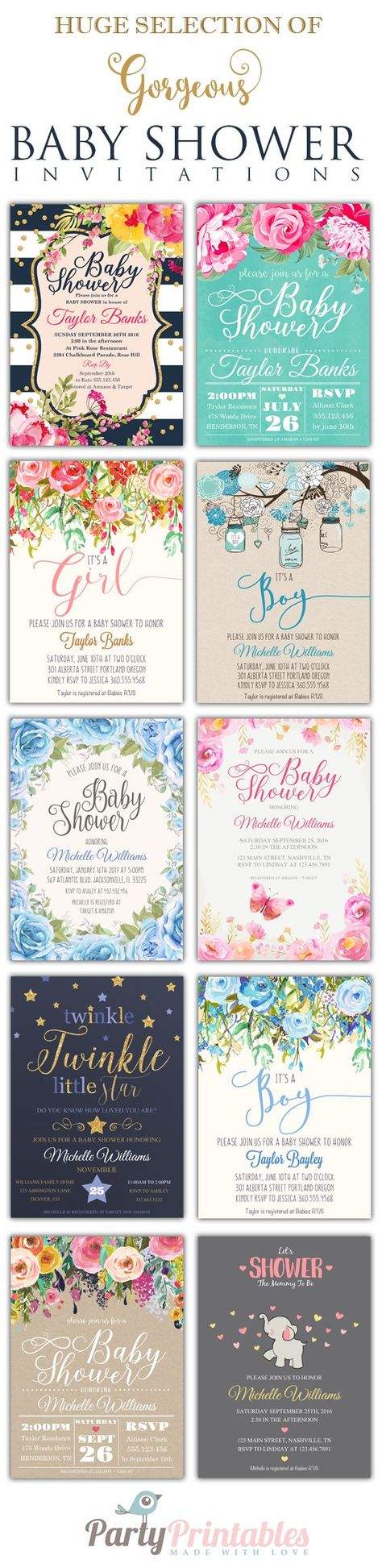 clever baby shower invitation wording%0A Editable PDF Baby Shower Invitation DIY  u     Elegant Vintage Watercolor  Flowers  u     Instant Download Printable Edit in Adobe Reader   Shower  invitations