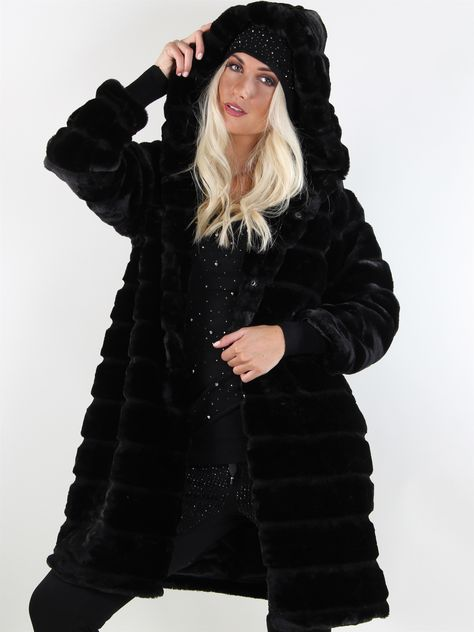 fake fur jakke sort