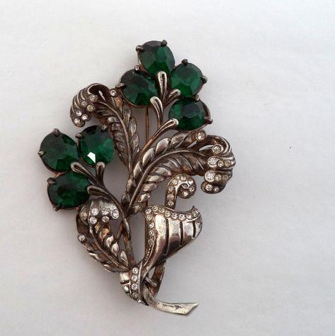 Art Deco Brooch Silver Pot Metal Brooch Large Flower Brooch Emerald Green Rhinestones Crystal Rhinestones Edwardian Jewelry