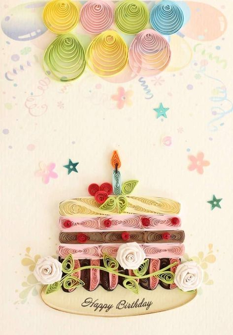 """This card is chock-full of amazing hand-designed quilling! Say """"Happy Birthday"""" like you've never said it before! Scroll over the card to zoom in on the quilling work. It will become a treasured keepsake for your loved ones. Card is blank inside so you can write your own special message Portrait-sized, individually"""