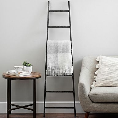 Black Distressed Wood Leaning Ladder Home Decor Ladder Decor How To Distress Wood