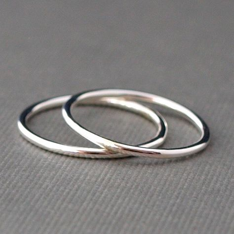 Two Plain Silver Rings  Smooth Silver Bands by CatherineMarissa