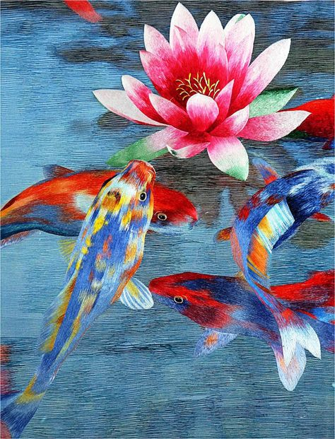 Rainbow Koi Fish Original Watercolor Illustration water lily pond lily pad beta goldfish tranquil water bright bathroom wall decor fountain