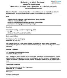 example resume for a homemaker returning to work - Resume For Stay At Home Mom Returning To Work Examples