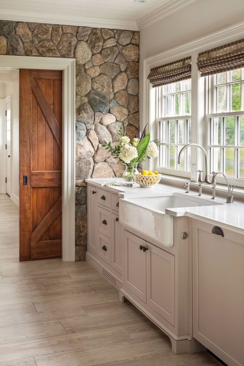 Interior Design Kitchen Farmhouse sink with white painted cabinetry set against cobbled stone wall. Design by Patrick Ahearn Architect - See why we're dying over this natural trend! Home Kitchens, Kitchen Remodel, Kitchen Design, Rustic House, Sweet Home, Kitchen Decor, New Homes, Kitchen Interior, Home Decor