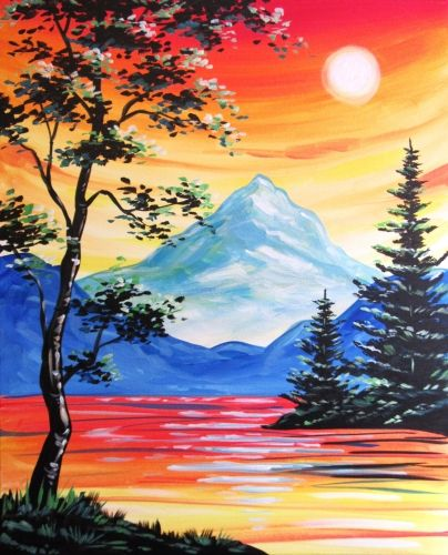 Easy Mountain Sunset Painting : mountain, sunset, painting, Check, Sunset, Afternoon, Delight, Mimi's, (Arden), Yaymaker, Mountain, Landscape, Painting,, Paintings,, Nature, Painting