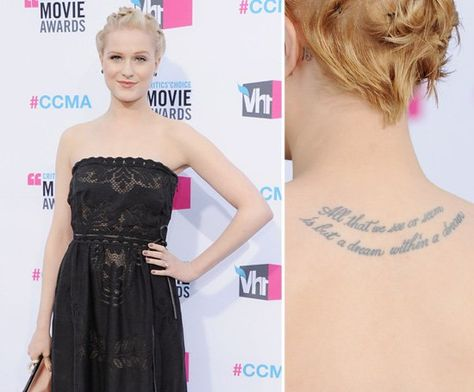 "Pin for Later: Die ultimative Galerie der Promi Tattoos! Evan Rachel Wood Evan Rachel Wood trägt zwischen ihren Schulterblättern ein Zitat von Edgar Allen Poe: ""All that we see or seem is but a dream within a dream."""