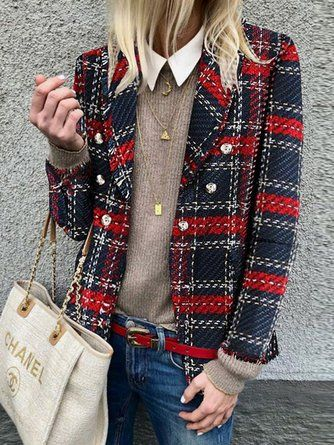 Plaid Jacket Womens woolen loose tartan jackets -chicokay – Outfit Inspiration & Ideas for All Occasions
