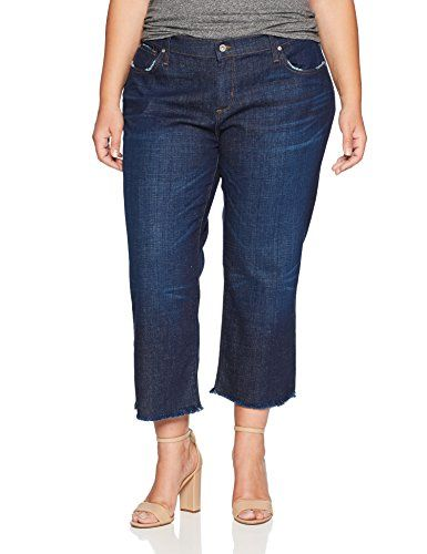 James Jeans Womens Plus Size Hi-Lo Straight Leg Stepped Hem Jean in Victory
