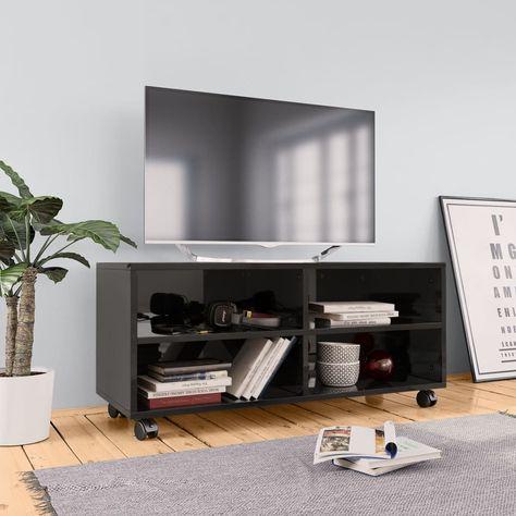 Stevige Tv Kast.Tv Meubel Met Wieltjes 90x35x35 Cm Spaanplaat Hoogglans Zwart In