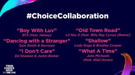 #teenchoiceawards #awards  #teenchoice #musicawards What happens when your faves get together to make hits? 🎧💥 They get nominated for #ChoiceCollaboration, of course! The #TeenChoice nominees are...