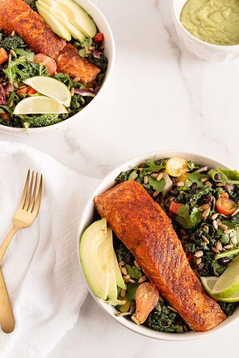 Blackened Salmon Salad #salmonsalad #salad