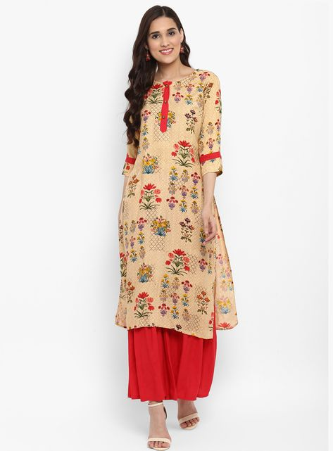 Shop Beige Rayon Readymade Kurti 148585 online at best price from vast collection of designer kurti at Indianclothstore.com.