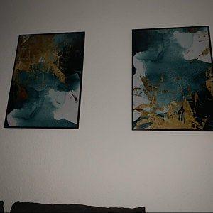 Wonderbaarlijk Abstract goud folie afdrukbare, aquarel zee golven kunst aan de NL-23
