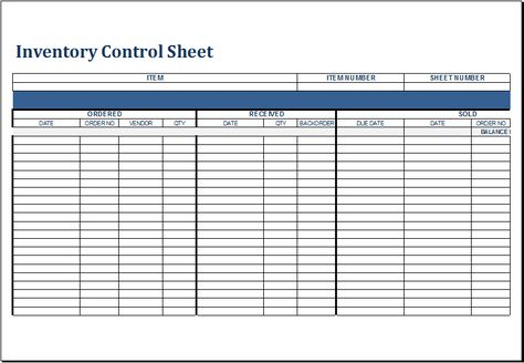 Inventory control sheet DOWNLOAD at http\/\/wwwxltemplatesorg - inventory management template