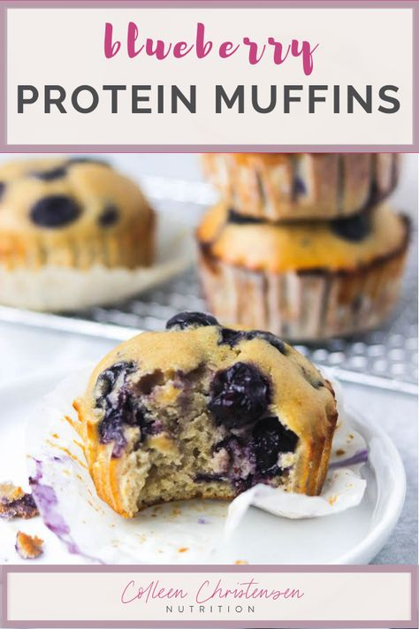These soft, fluffy blueberry protein muffins taste like a they're from your favorite bakery! Yet, they're packed with protein & whole grains! High Protein Snacks, Protein Foods, High Protien, Blueberry Protein Muffins, Blue Berry Muffins, Protien Powder Muffins, High Protein Muffins, Protein Banana Bread, Baking Soda Shampoo
