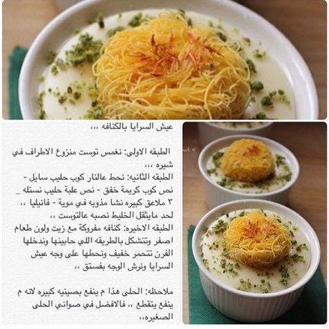 عيش السرايا بالكنافة Middle Eastern Recipes Food Cooking