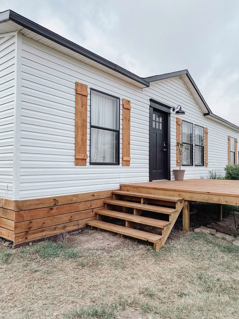 Mobile Home Siding, Mobile Home Redo, Mobile Home Porch, Mobile Home Exteriors, Mobile Home Renovations, Mobile Home Makeovers, Remodeling Mobile Homes, Home Remodeling, Cedar Shutters